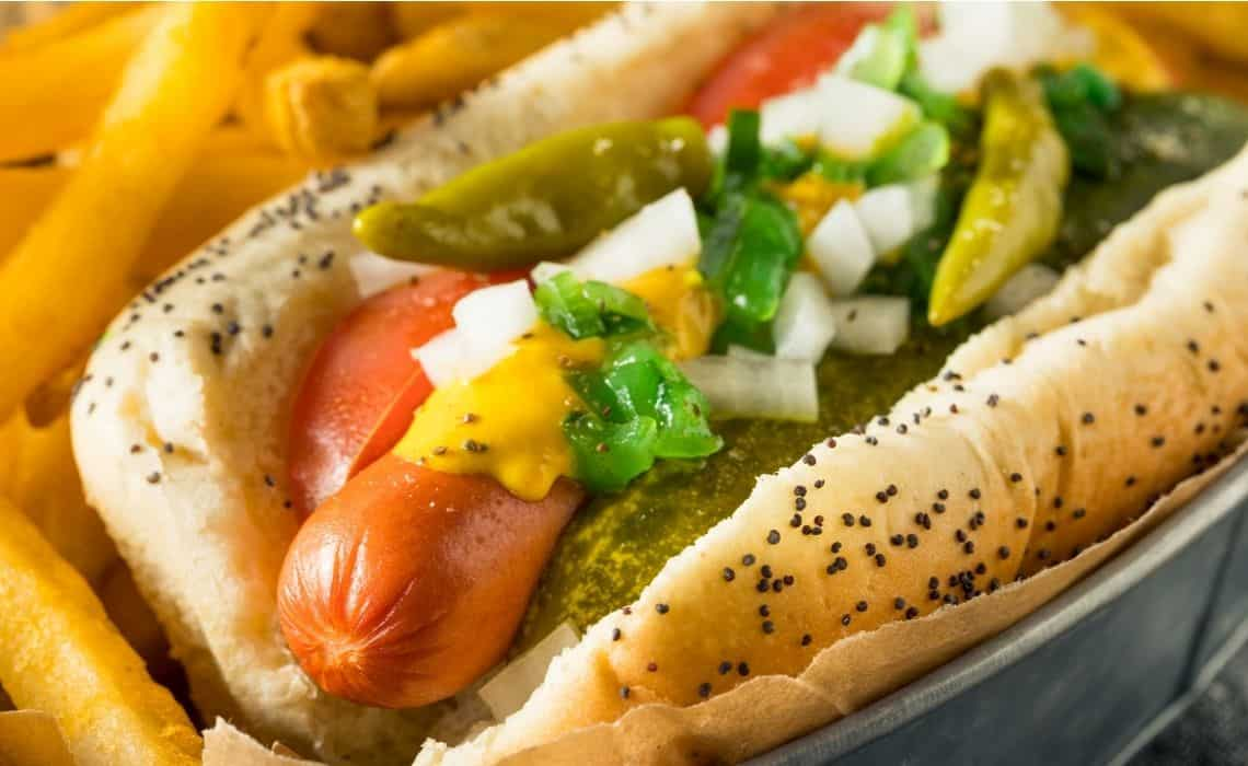 A Chicago-style hot dog is the perfect street food while taking a  chicago neighborhood walking tour