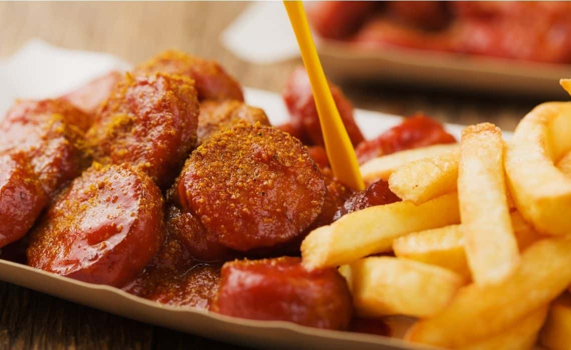 Currywurst is a perfect snack to grab on a walking tour in Berlin
