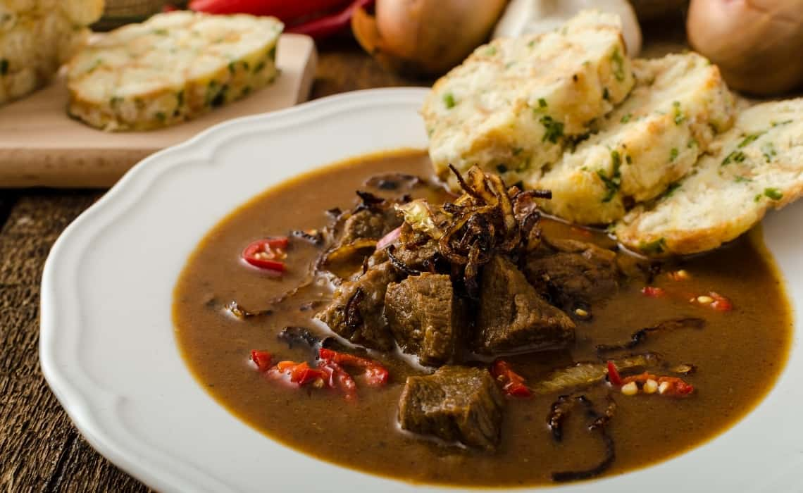 Czech goulash is a must try food after a Prague self guided walking tour