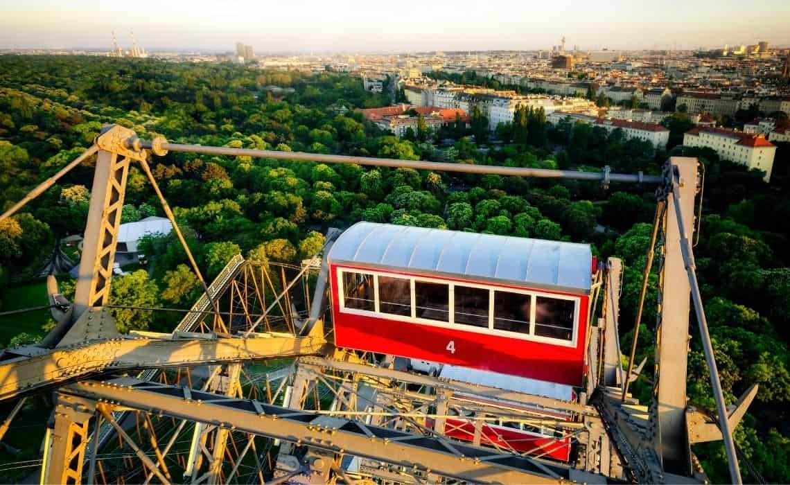 Green Prater park viewed from the Riesenrad Ferris Wheel