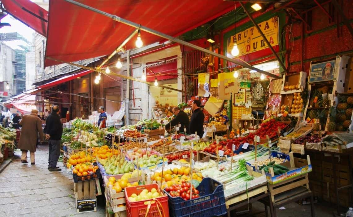 Fresh produce for sale at Palermo market stalls