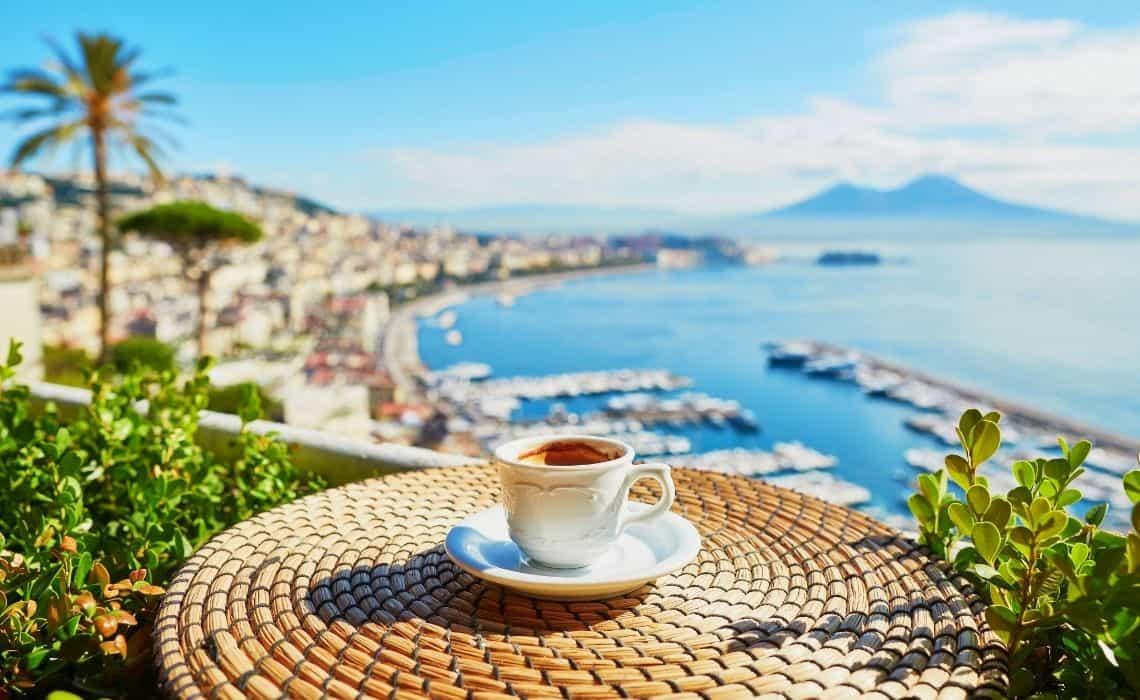 espresso overlooking Vesuvius after a Naples city tour